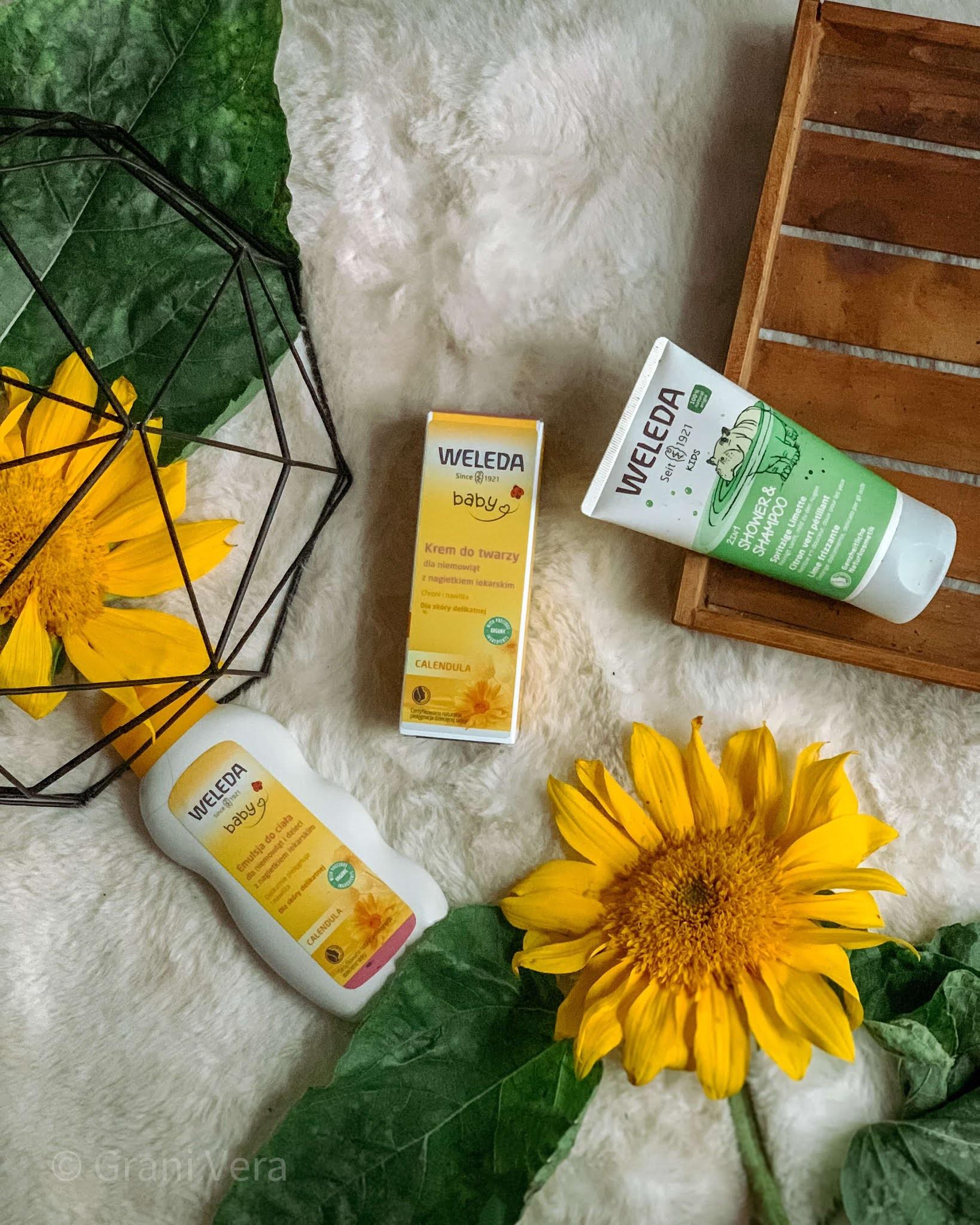 kosmetyki-weleda;baby-szampon-emulsja-krem-do-twarzy-słoneczniki-opinie