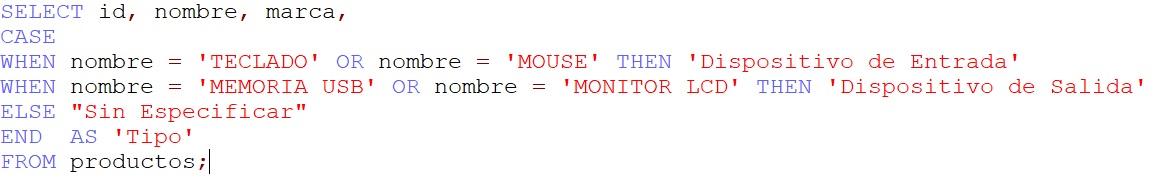 cómo usar la sentencia case en mysql database