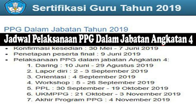 Jadwal Pelaksanaan PPG Dalam Jabatan Angkatan 4 (PPG Dalam Jabatan Tahun 2019)