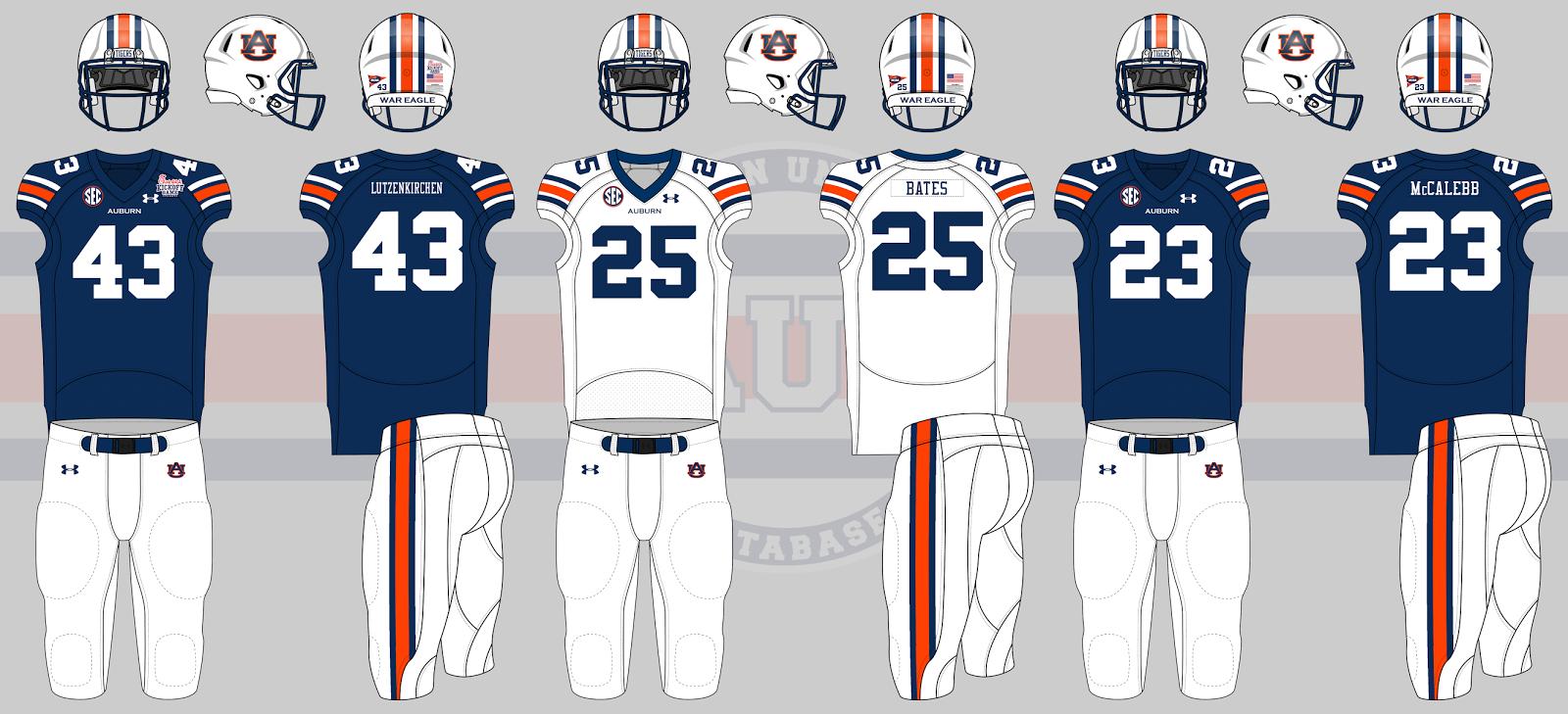 auburn uniform database football uniforms
