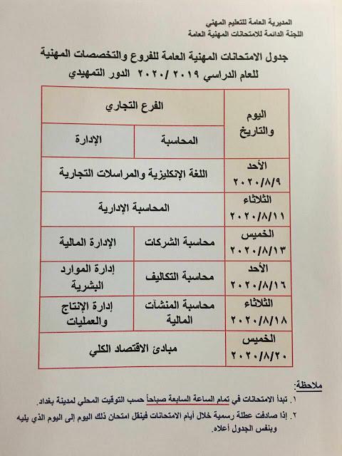 وزارة التربية تحدد جدول الامتحانات العامة للطلبة الخارجيين / الدور التمهيدي/ للتعليم المهني؟