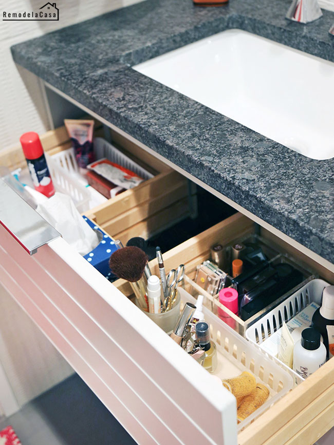 bathroom storage with deep vanity drawers