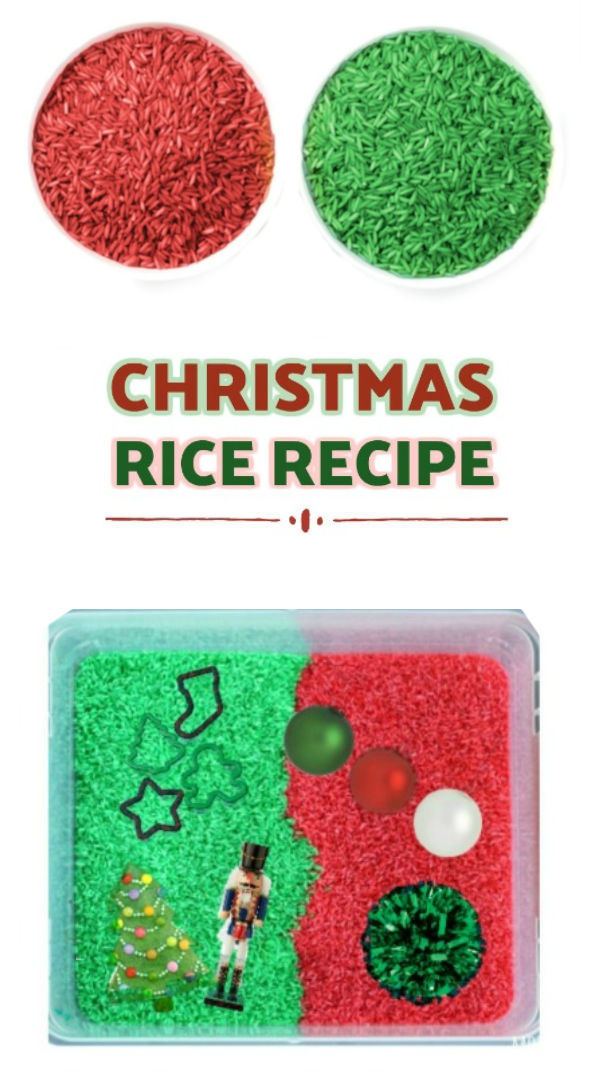 CHRISTMAS PLAY RICE FOR KIDS (easy recipe) #howtomakecoloredrice #coloredricesensorybin #dyingrice #ricerecipesforkids #christmasplayideaschurch #christmascrafts #coloredrice