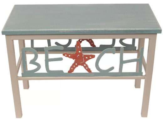 Beach Theme Wood Bench