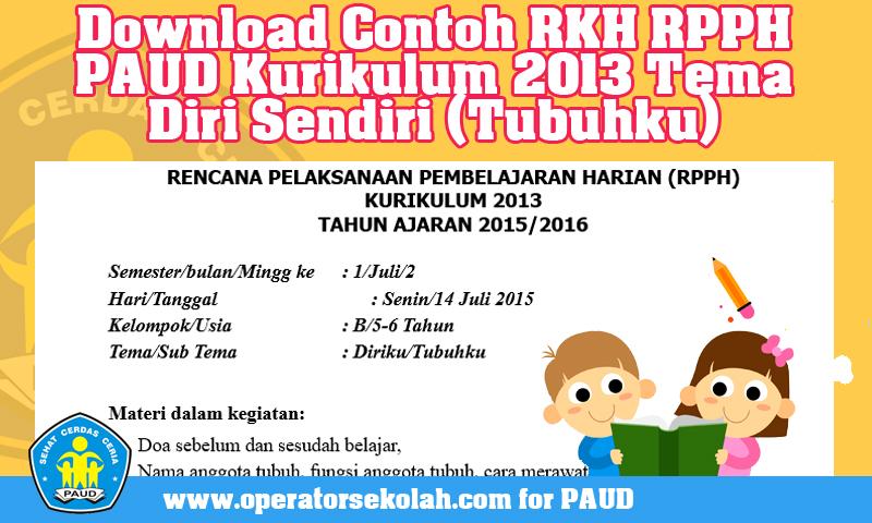 Download Contoh RKH RPPH PAUD Kurikulum 2013 Tema Diri Sendiri (Tubuhku)