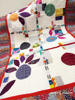 inset circles, improv 9 patch, applique, free motion quilting - A quilt sampler by Marty Mason