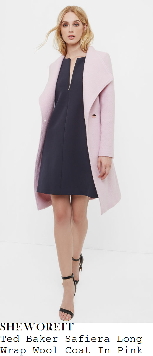 susanna-reid-ted-baker-safiera-dusty-mauve-pink-and-rose-gold-long-sleeve-high-funnel-neck-wrap-front-tie-belt-detail-wool-coat