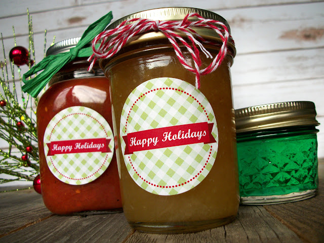 Happy Holidays Christmas canning jar label