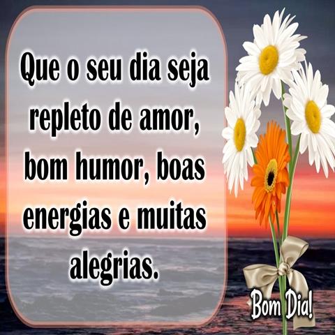 Que o seu dia seja  repleto de amor,  bom humor,  boas energias  e muitas alegrias.  Bom Dia!