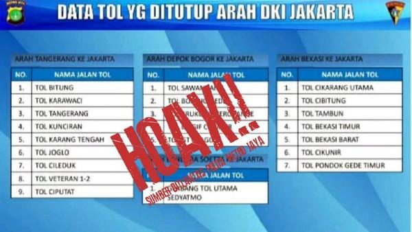 Ada Kabar Gerbang Tol Ditutup karena 'Jakarta Lockdown', Polisi: Hoax