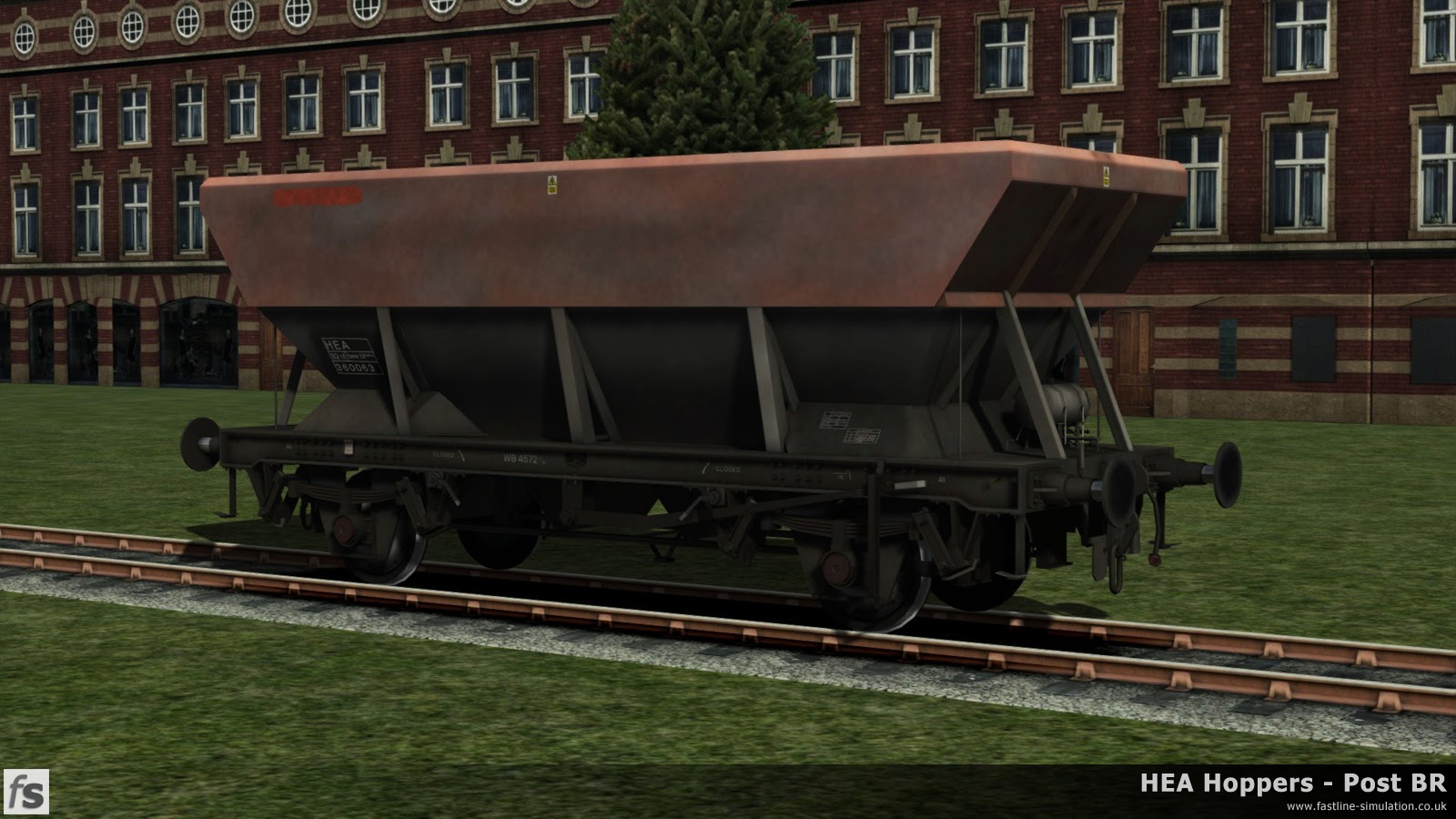 HEA Hoppers - Post BR: Many of the HEA hoppers have continued to soldier on for many years wearing their liveries from up to 30 years ago. This example, under development for Train Simulator 2014, of an early example with central ladder has had its Railfreight logos painted out, the end ladders removed and lettering renewed.