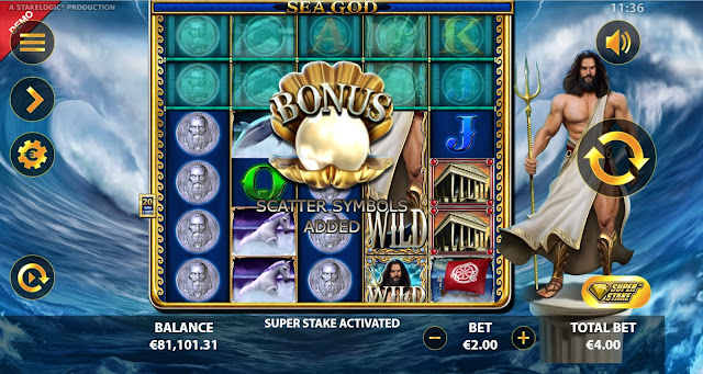 Super Stake Game Feature in Sea God game by Reflex Gaming
