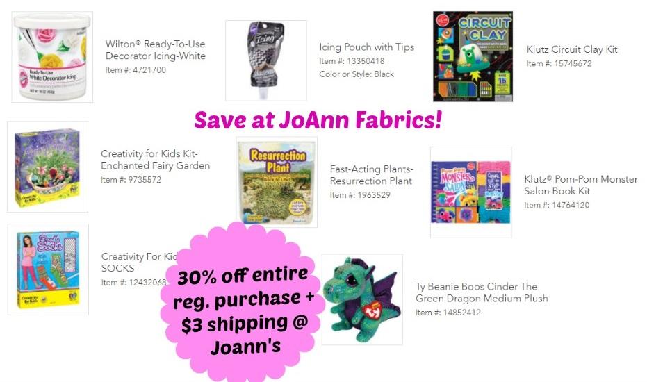 JoAnn Fabrics: Save 30% off Entire Reg  Purchase + $3 00