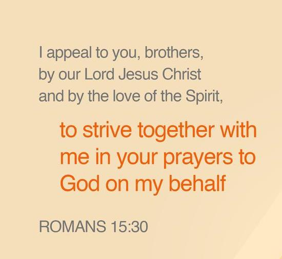 I urge you, brothers, by our Lord Jesus Christ and by the love of the Spirit, to join me in my struggle by praying to God for me.