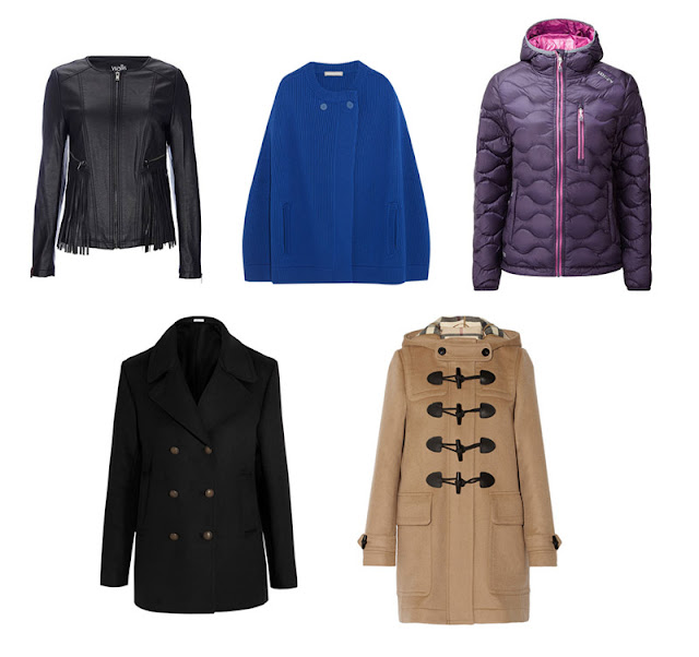 Черная кожаная куртка, синее короткое пальто, фиолетовый пуховик, черный бушлат и бежевый дафлкот
