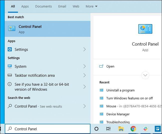 تشغيل لوحة التحكم من قائمة ابدأ الخاصة بنظام التشغيل Windows 10