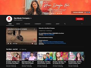 Zee Music Company youtube channel
