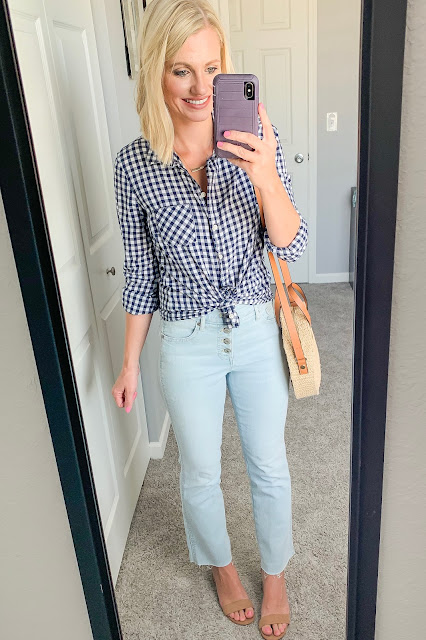 Gingham button down with cropped flare jeans and block heel sandals
