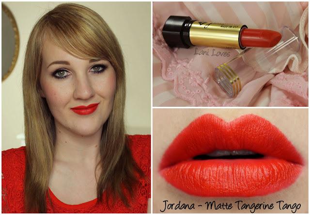 Jordana Matte Tangerine Tango lipstick swatch
