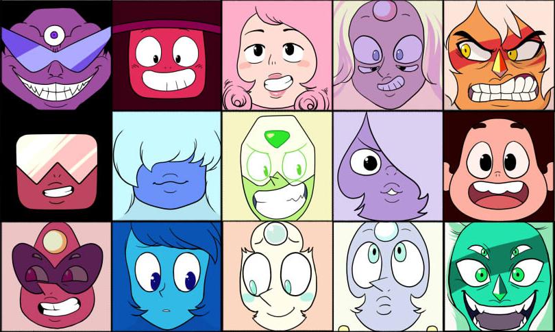 Algunos de los personajes de Steven Universe, varias gemas