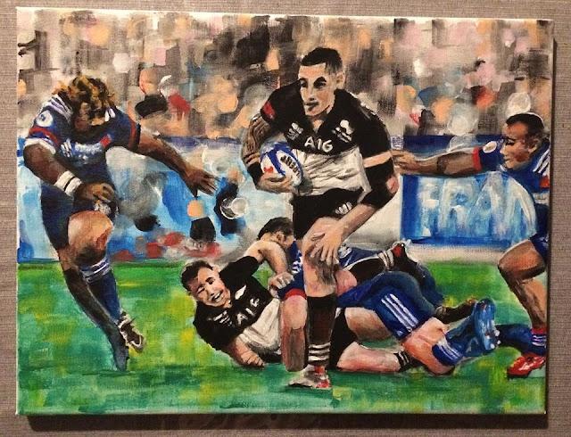 peinture acrylique de Karine Babel, joueurs de rugby