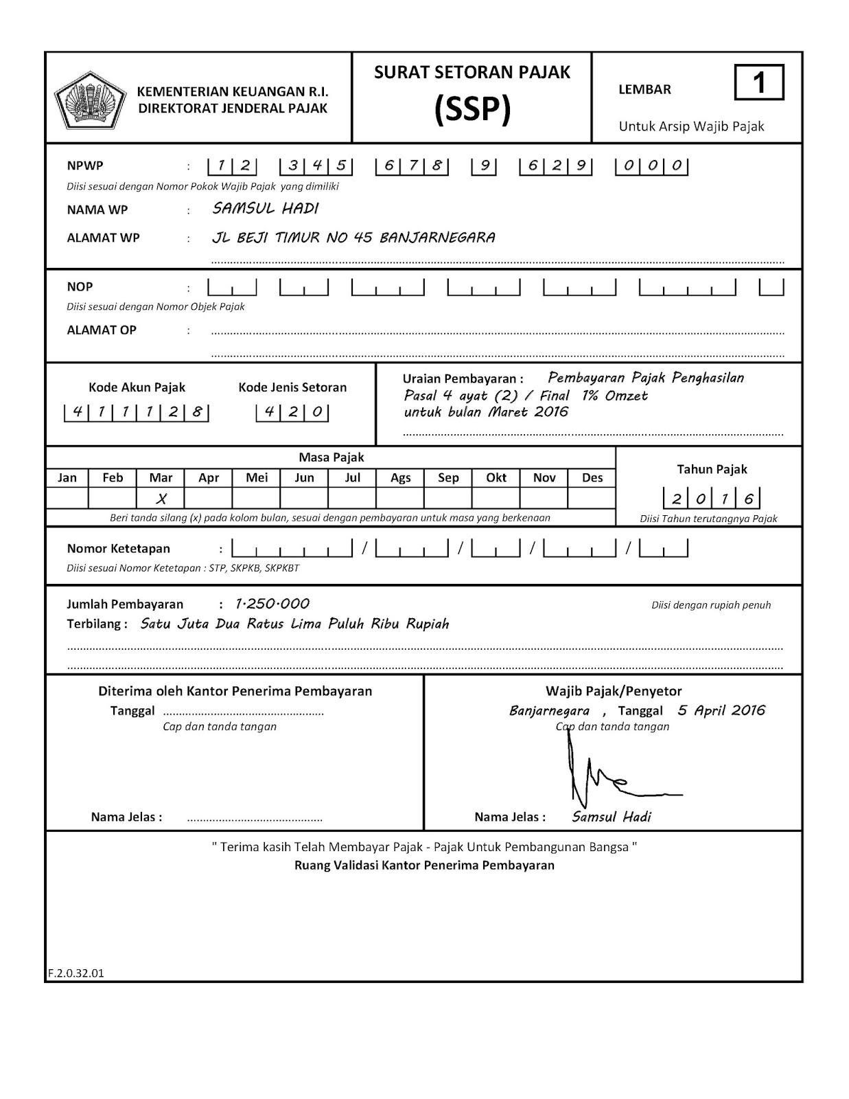 contoh surat setoran pajak elektronik surat 6