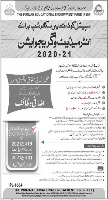PEEF Scholarships 2021 for Intermediate & Graduation Application Form Download Latest