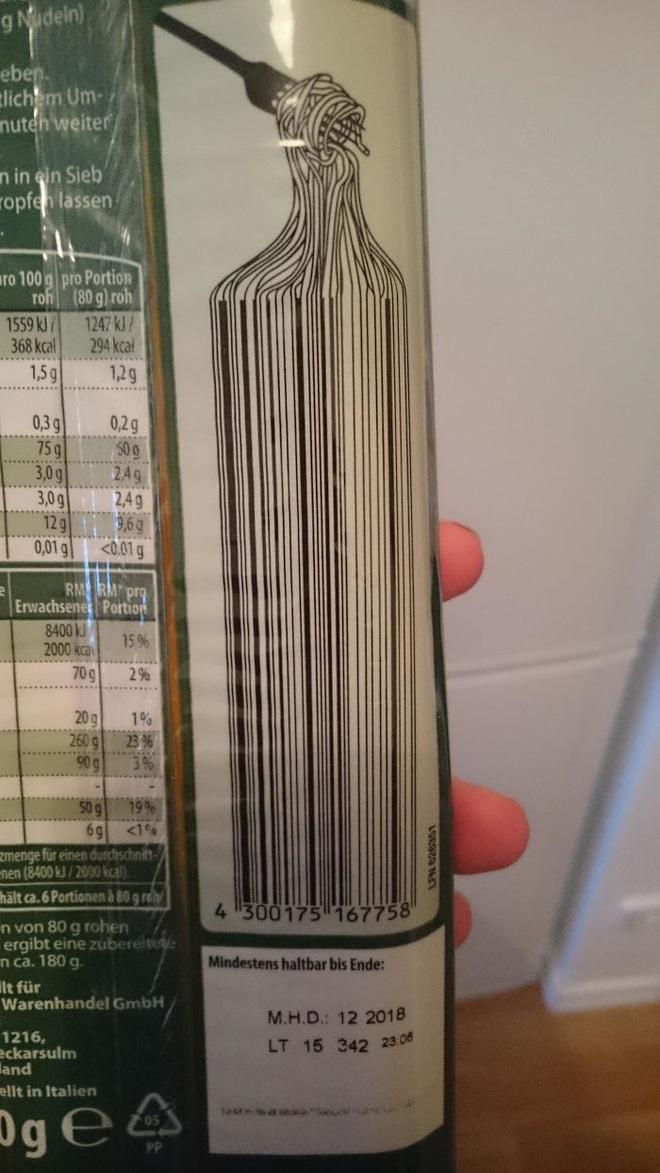 Các nhà sản xuất đã khéo léo biến Barcode thành mỳ Ý