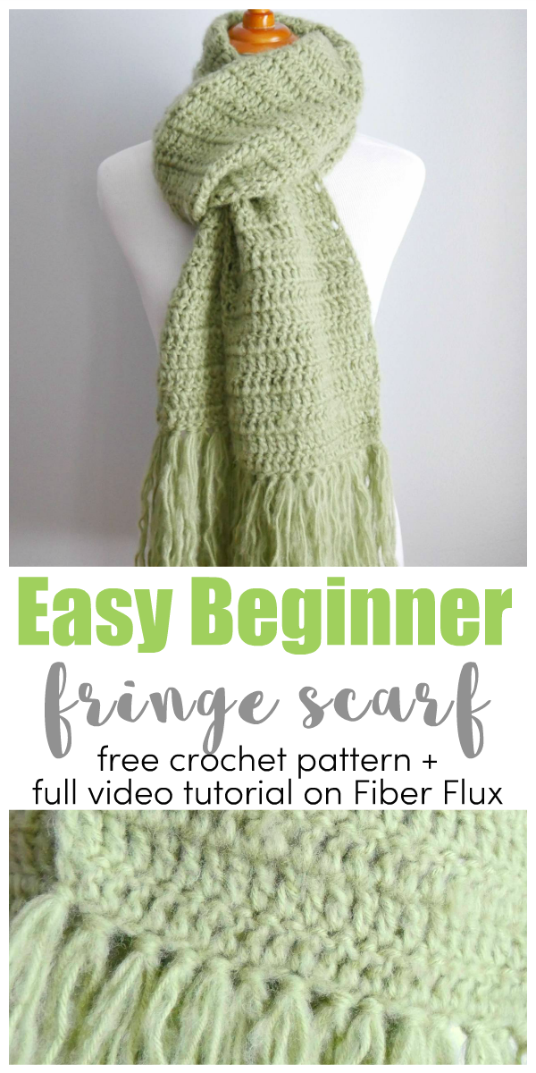 Fiber Flux Easy Beginner Fringe Scarf Free Crochet Pattern Video