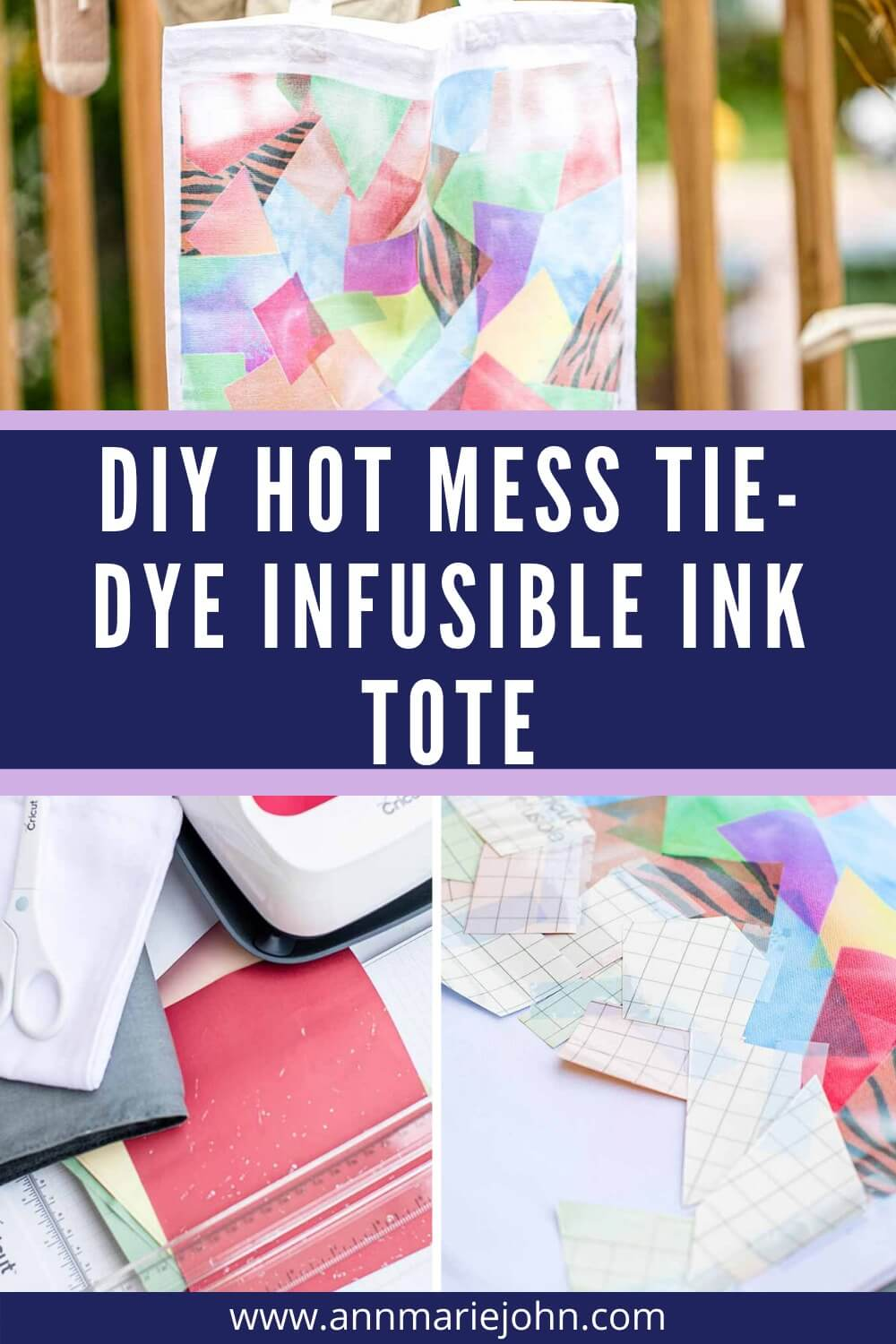 Make this tie-dye tote with infusible ink transfer sheets scraps