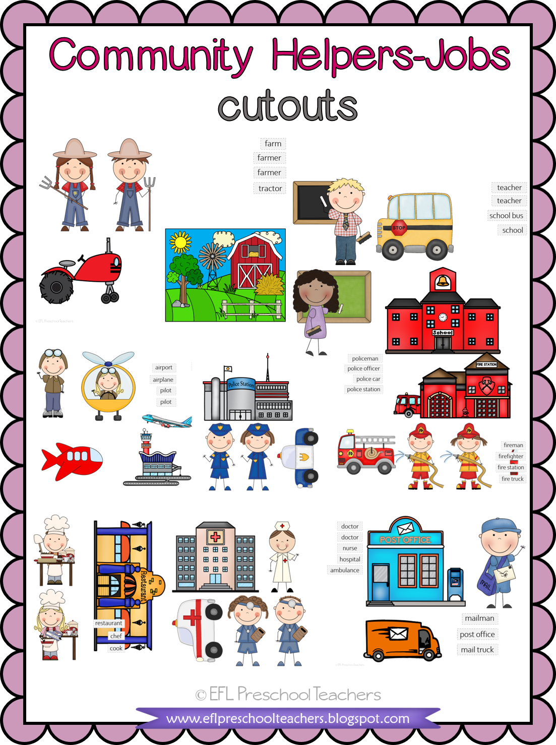 Esl Efl Preschool Teachers Esl Community Helpers Cutouts