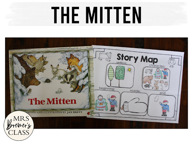 The Mitten book study activities unit with Common Core aligned literacy companion activities and a craftivity for Kindergarten and First Grade