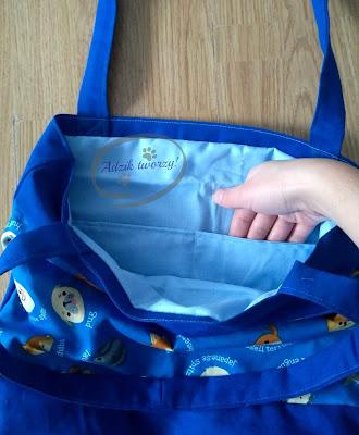 Adzik tworzy - niebieska torebka z psami materiałowa