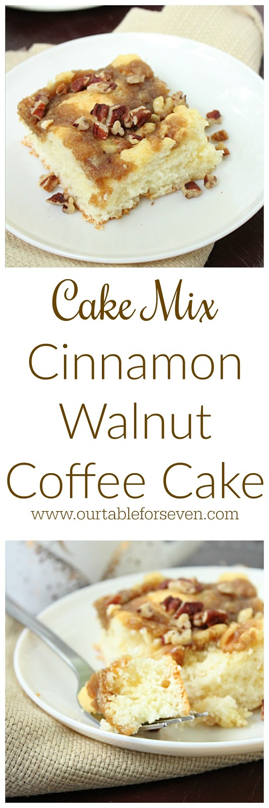 Cake Mix Cinnamon Walnut Coffee Cake from Table for Seven:A quick and delicious coffee cake that starts with a cake mix!