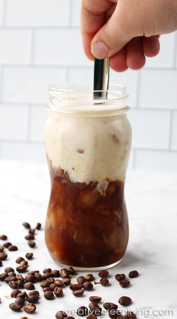 How to make delicious Whole30 keto coffee. This iced latte is perfect for enjoying cold coffee during the summer months! #Whole30 #paleo #keto #vegan #coffee
