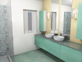 Kopalnica v turkizno zeleni barvi.