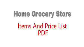 Home Grocery Store Items And Price List PDF