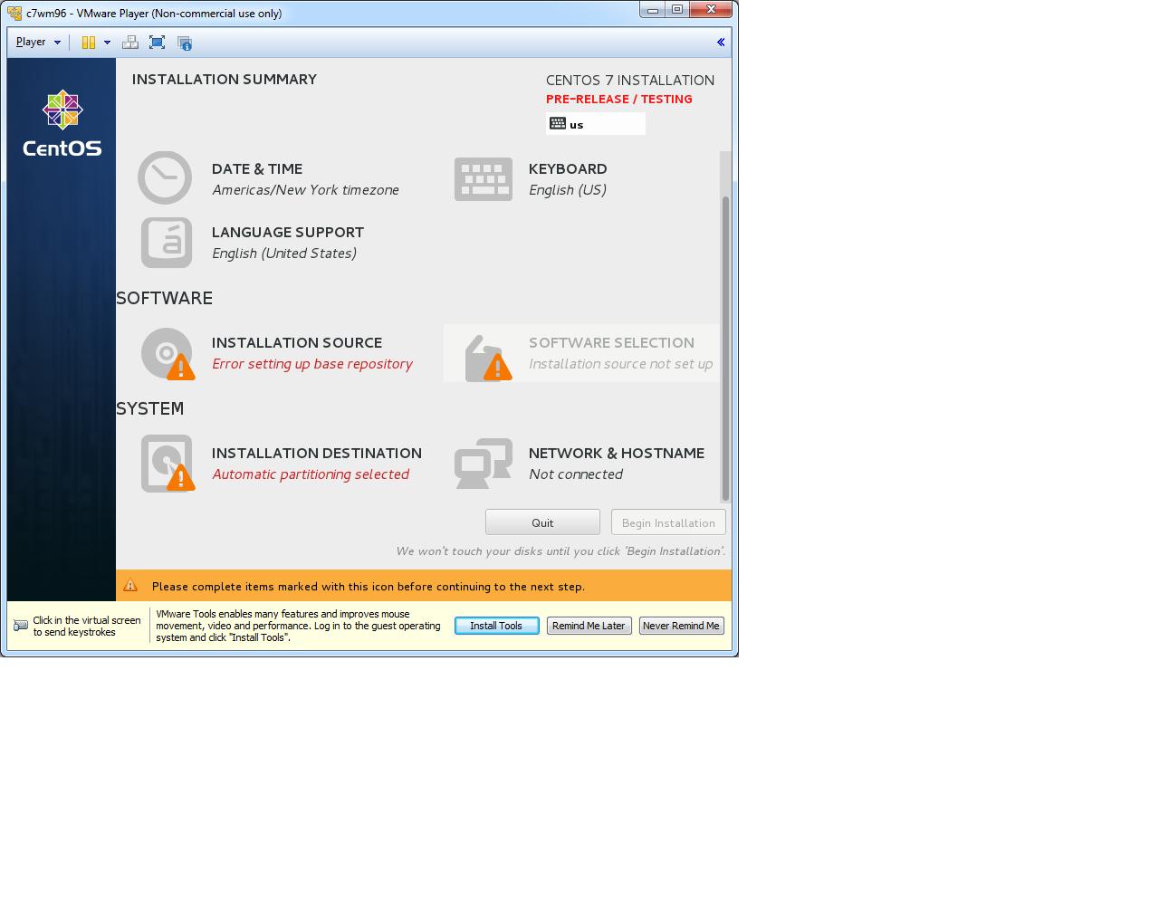 Grumpy Apache: Installing CentOS 7 Prerelease on VMWare