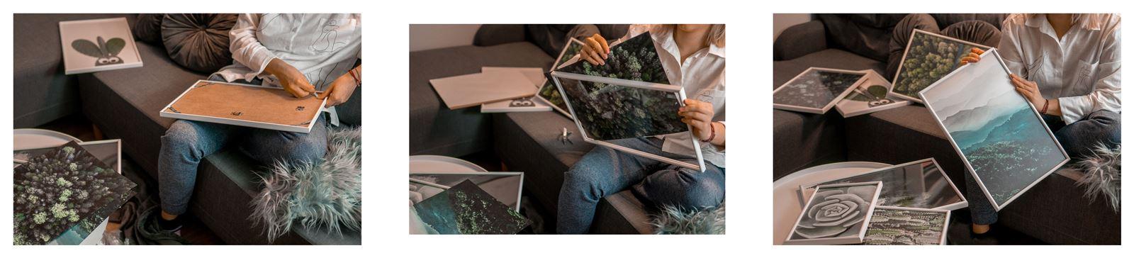 10a jak urządzić biuro w domu - dekoracje do biura, zielona ściana w mieszkaniu, jak zaprojektować galerię plakatów, plakaty krajobrazy rośliny na ścianę jak zawiesić obraz na ścianie jak urządzić biuro