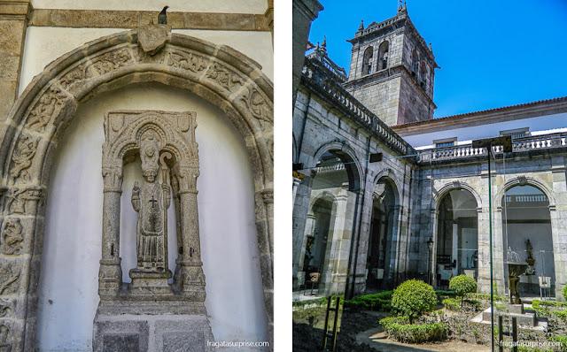 Altares e vestígios arqueológicos no claustro a Sé de Braga, Portugal