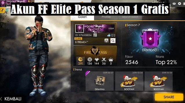 Akun FF Elite Pass Season 1 Gratis