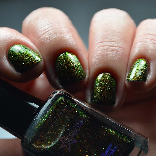 rainbow color shifting nail polish low light swatch