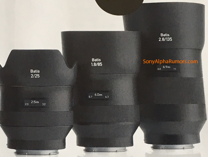 Zeiss Batis 135mm f/2.8, Zeiss Batis 25mm f/2, Zeiss Batis 85mm f/1.8