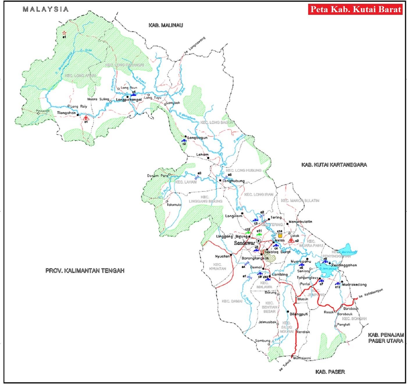 Peta Kabupaten Kutai Barat HD Lengkap