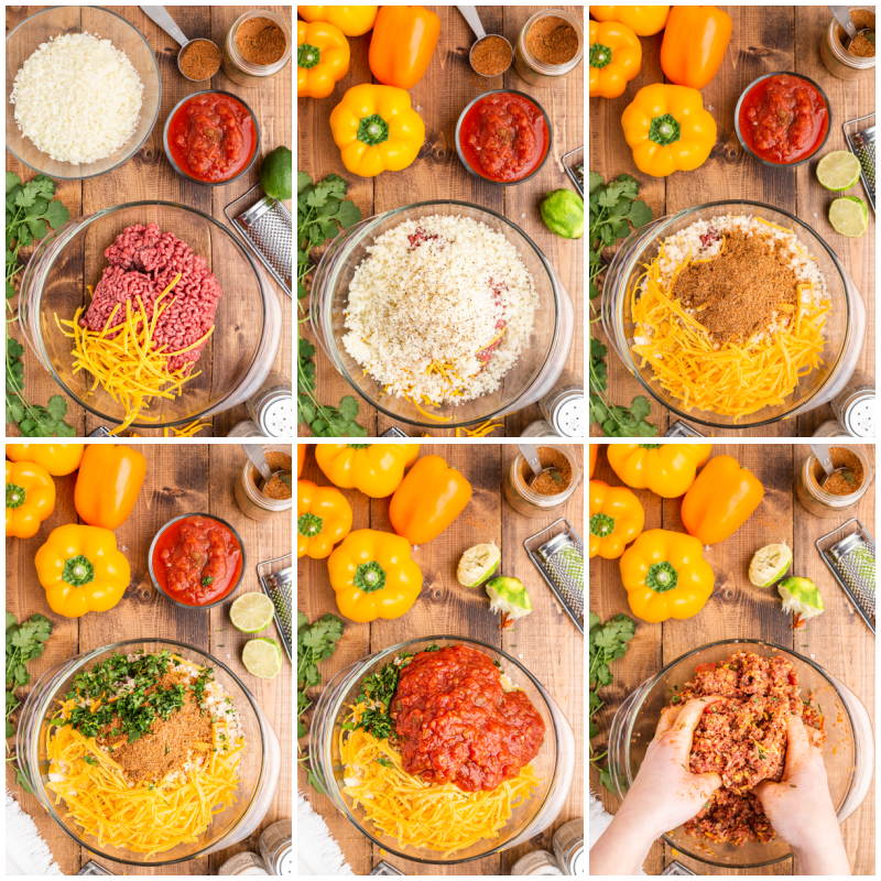 Six photos of the process of making Keto Slow Cooker Mexican Stuffed Peppers.