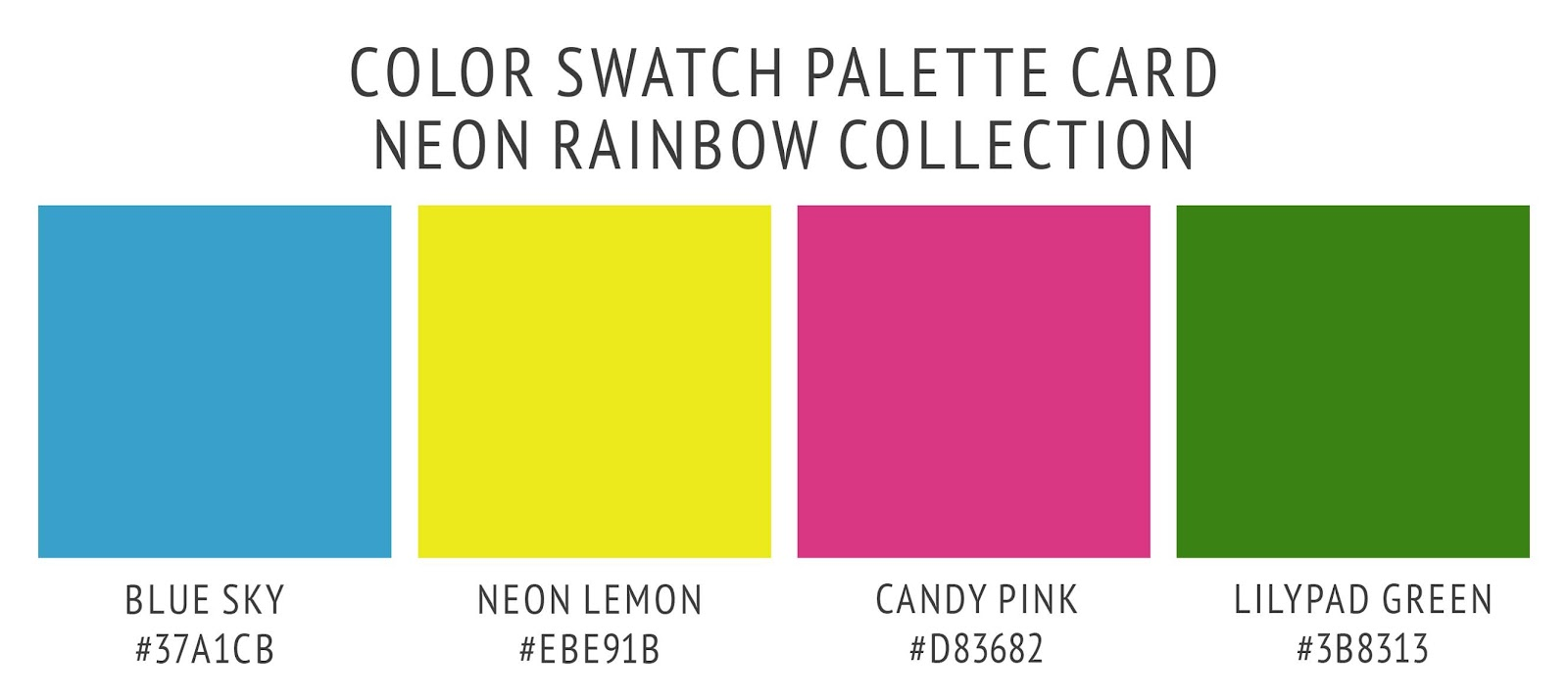 Neon Rainbow Color Palette Swatch Card in Blue Sky, Neon Lemon Yellow, Lilypad Green, and candy Pink