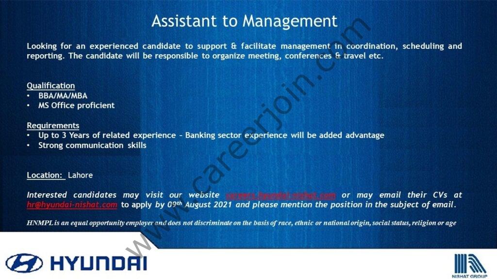 Hyundai Pakistan Jobs Assistant to Management