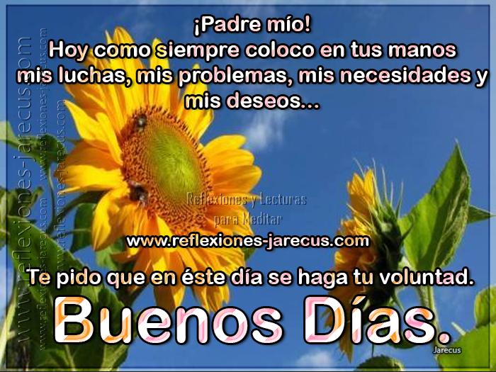 Padre mio, hoy como siempre coloco en tus manos mis luchas, mis problemas, mis necesidades y mis deseos... Te pido que en éste día se haga tu voluntad. Buenos días