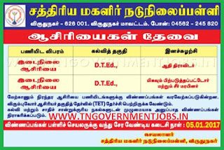 Applications are invited for Primary Teacher Post (PRT) in Ksathriya Girls Middle School Virudhunagar  (Govt Aided)