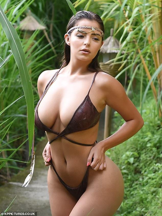 Demi Rose flaunts curves in daring snakeskin string bikini in Indonesia